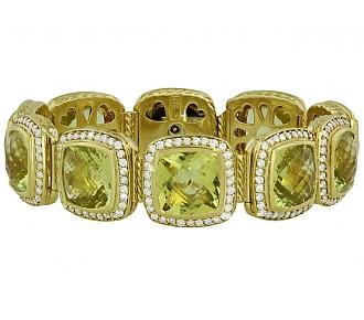 David Yurman 'Albion' Citrine and Diamond Bracelet in 18K
