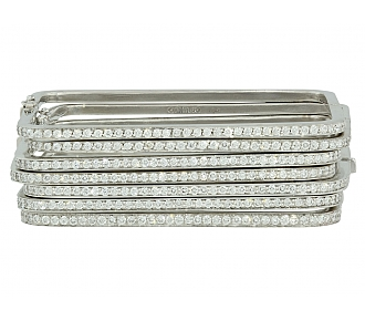 Set of 7 Mimi So Diamond Bangles in 18K White Gold
