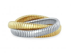 Rolling Bracelet in 18K Yellow and White Gold, 9mm