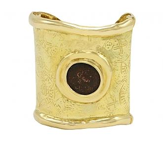 Elizabeth Gage Coin Cuff Bracelet in 18K Gold