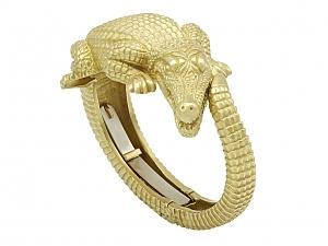 Kieselstein-Cord Alligator Bangle in 18K 'Green' Gold, Small