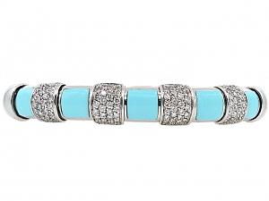 Turquoise, Diamond and 18K White Gold Bangle