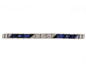 Art Deco Diamond and Synthetic Sapphire Bracelet in Platinum