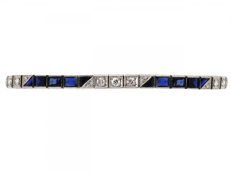 Video of Art Deco Diamond and Synthetic Sapphire Bracelet in Platinum
