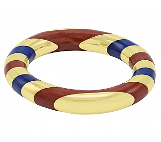 Tiffany & Co. Jasper and Lapis Bangle Bracelet, designed by Angela Cummings, in 18K Gold