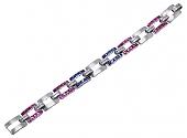 Mid-Century Diamond, Ruby and Sapphire Bracelet in Platinum