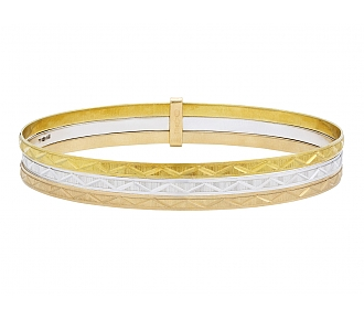 Set of Three Bangles in 18K Yellow, Rose and White Gold
