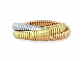 Rolling Bracelet in 18K Yellow, White and Rose Gold, 9mm, by Beladora