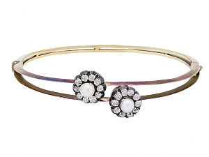 Antique Victorian Pearl and Diamond Bangle Bracelet in 14K Gold