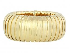 Large Wide Domed Cuff Bracelet in 18K Gold, by Beladora
