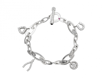 Roberto Coin 'Tiny Treasure' Diamond Charm Bracelet in 18K White Gold