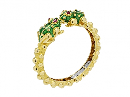 David Webb Frog Bangle in 18K Gold