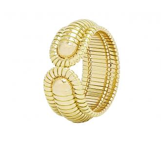 Bordered Domed Cuff Bracelet in 18K Gold, by Beladora