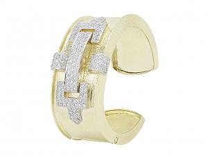 Hammerman Brothers Diamond Bangle Bracelet in 18K Gold and Platinum