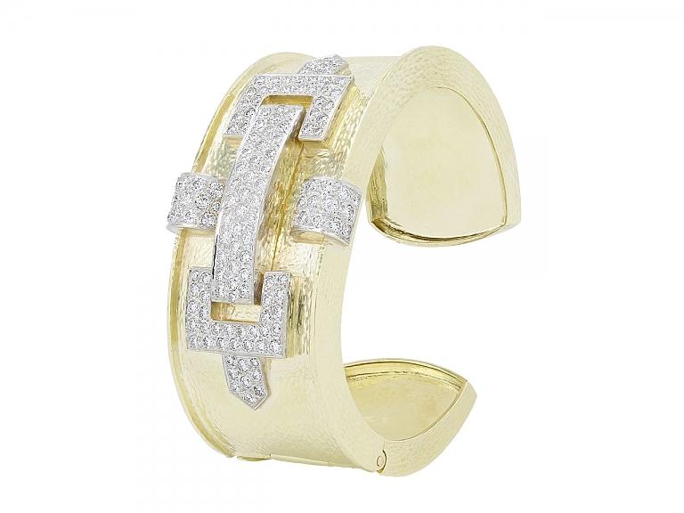 Video of Hammerman Brothers Diamond Bangle Bracelet in 18K Gold and Platinum
