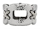 Diamond Bracelet in Hammered 18K White Gold