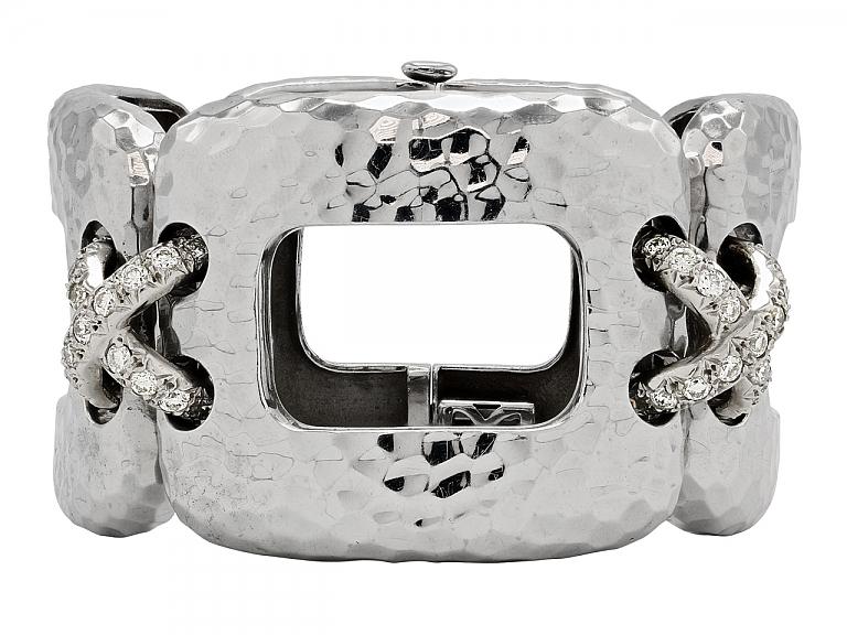 Video of Diamond Bracelet in Hammered 18K White Gold