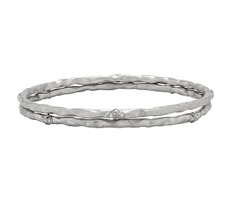 Rhonda Faber Green 'Verde' Bangle Bracelet Pair in 18K White Gold