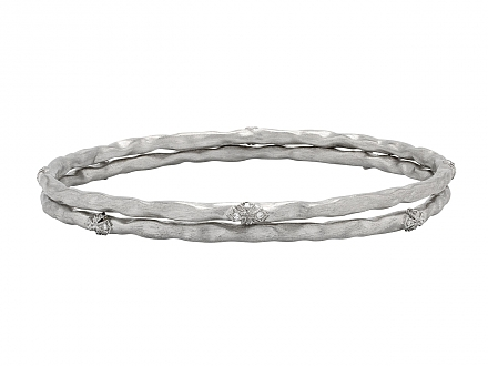 Rhonda Faber Green 'Verde' Bangle Bracelet Pair in 18K White Gold