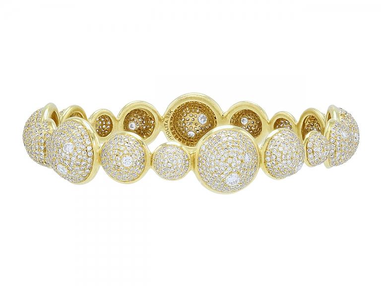 Video of Ippolita 'Stardust' Diamond Bangle Bracelet in 18K Gold