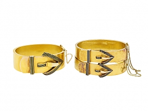 Set of Three Antique Black Enameled Bangle Bracelets in 14K