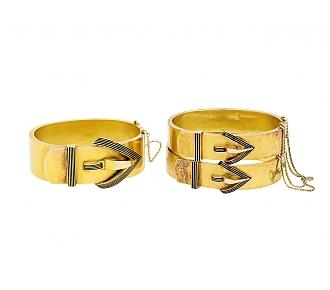 Set of Three Antique Black Enameled Bangle Bracelets in 14K