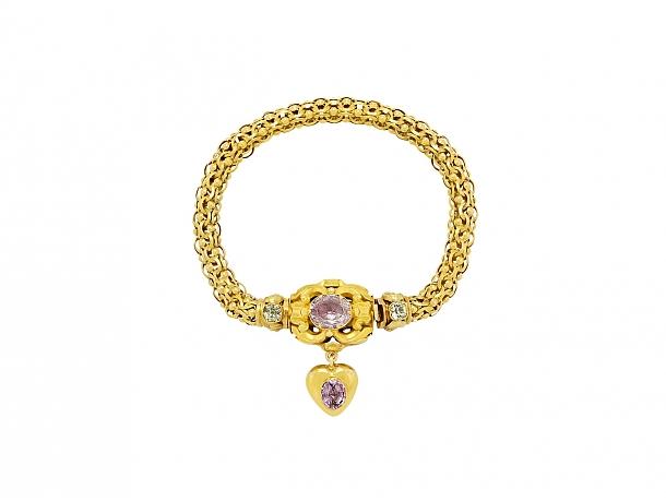 Antique Georgian Harlequin Bracelet in 14K Gold