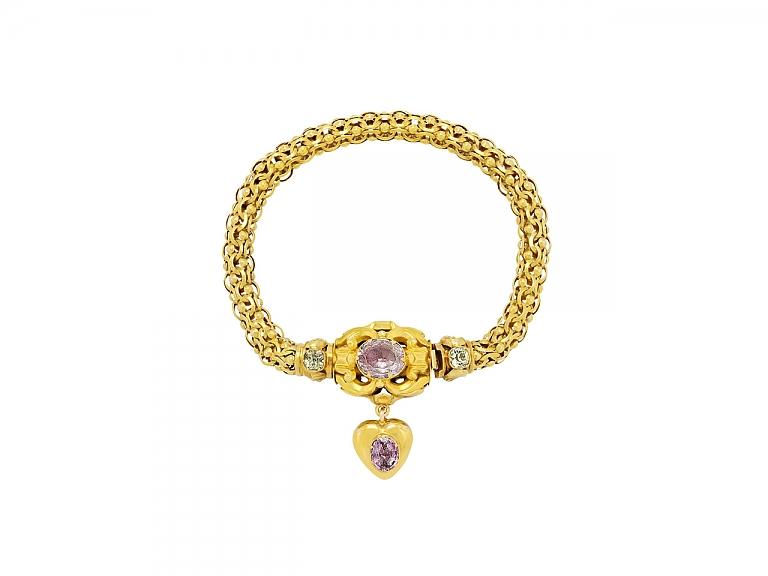 Video of Antique Georgian Harlequin Bracelet in 14K Gold