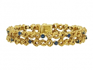 Gold and Sapphire Bracelet, in 18K