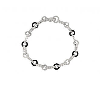 Diamond and Black Onyx Bracelet in Platinum