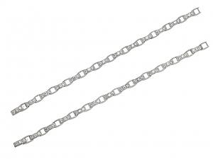 Pair of Waslikoff Art Deco Diamond Bracelets in Platinum