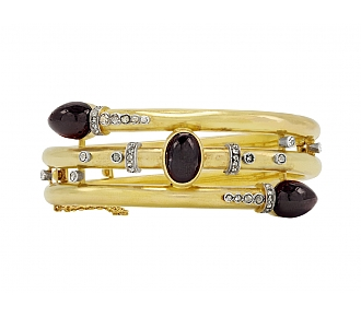 Antique Victorian 'Carbuncle' Bangle in 18K Gold and Silver
