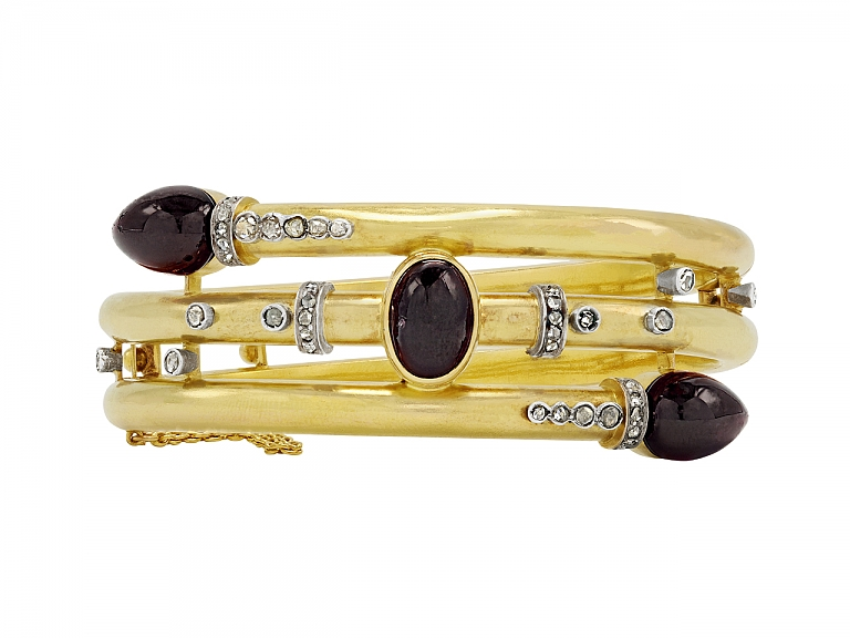 Video of Antique Victorian 'Carbuncle' Bangle in 18K Gold and Silver