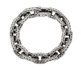 Hermès Vintage Braided Chain Bracelet in Silver