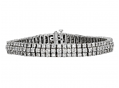 Three Row Diamond Bracelet in 18K White Gold