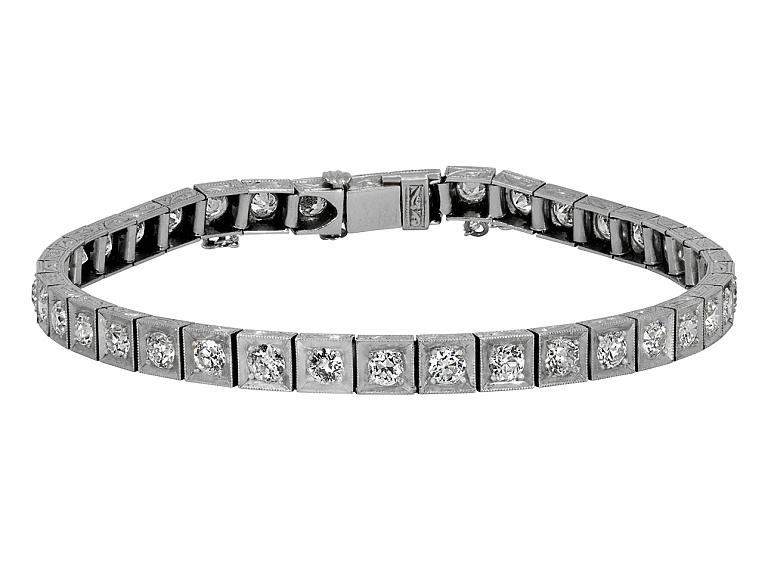 Video of Art Deco Diamond Line Bracelet in Platinum