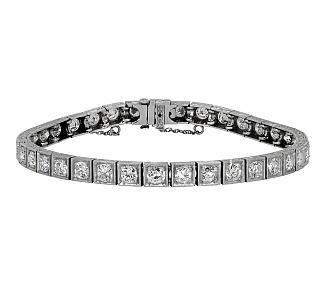 Art Deco Diamond Line Bracelet in Platinum