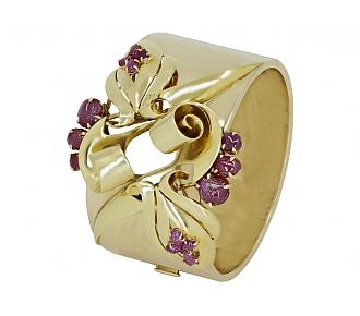 Retro Ruby Bangle Bracelet in 14K Gold