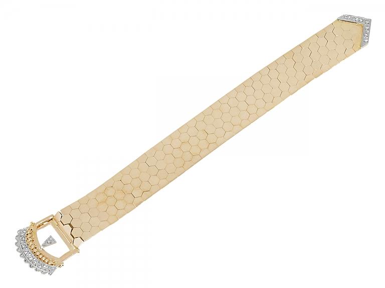 Video of Retro Diamond Buckle Bracelet in 18K Gold