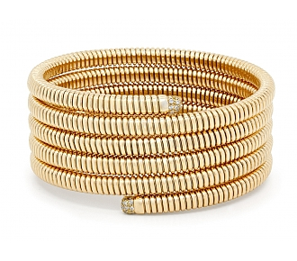 Tubogas Five Row Wrap Diamond Bracelet in 18K Gold, by Beladora