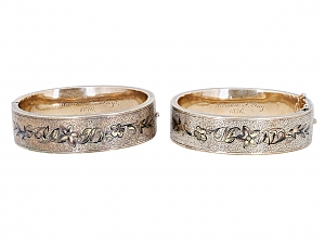 Pair of Antique Victorian Enameled Bangle Bracelets in 12K Gold