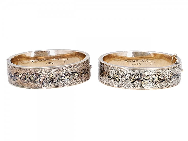 Video of Pair of Antique Victorian Enameled Bangle Bracelets in 12K Gold