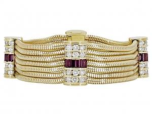 Ruby and Diamond Bracelet in 18K Gold, by Gemlok