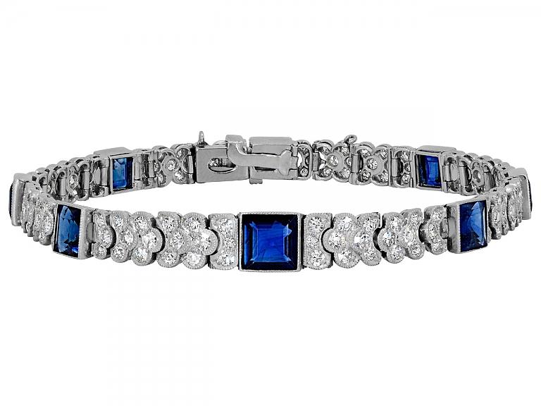 Video of Art Deco Sapphire and Diamond Bracelet in Platinum