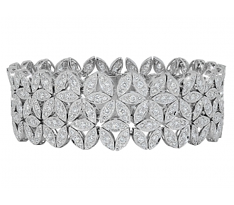 Floral Diamond Bracelet in 18K White Gold
