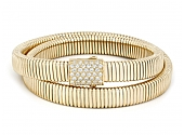 Beladora Diamond Double Wrap Tubogas Bracelet in 18K Gold