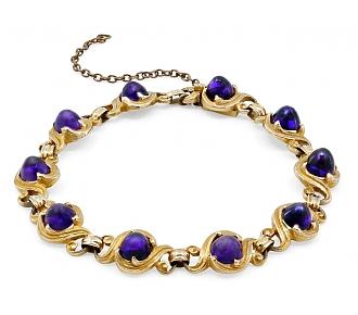 Art Nouveau Amethyst Bracelet in 14K Gold