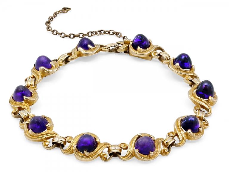 Video of Art Nouveau Amethyst Bracelet in 14K Gold