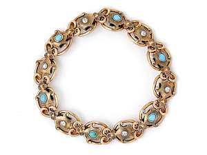 Antique Victorian Diamond and Turquoise Bracelet in Silver over Gold