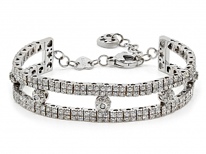 Pasquale Bruni Star, Heart and Moon Diamond Bracelet in 18K White Gold